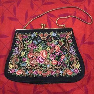 Vintage Petit Point Purse Mini Handbag with gold